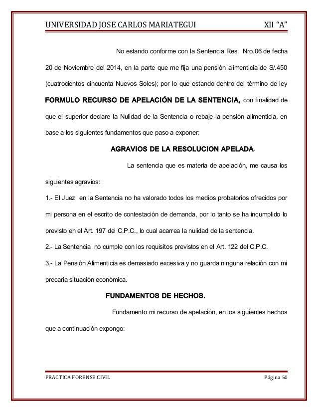 """UNIVERSIDAD JOSE CARLOS MARIATEGUI XII """"A""""  No estando conforme con la Sentencia Res. Nro.06 de fecha  20 de Noviembre del..."""