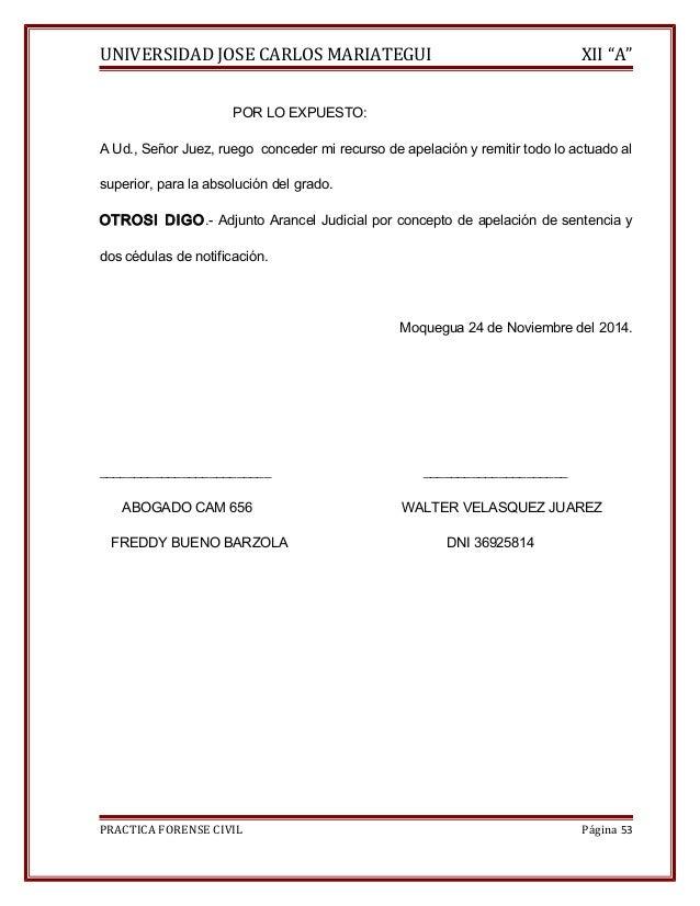 """UNIVERSIDAD JOSE CARLOS MARIATEGUI XII """"A""""  POR LO EXPUESTO:  A Ud., Señor Juez, ruego conceder mi recurso de apelación y ..."""