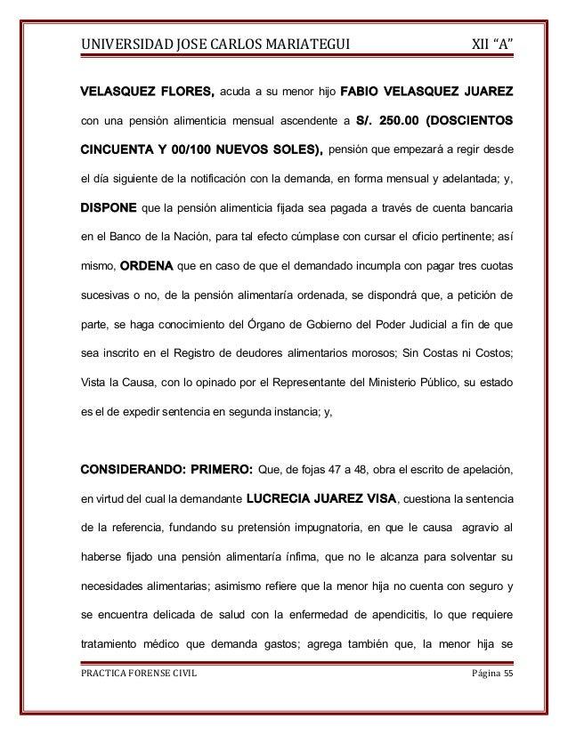 """UNIVERSIDAD JOSE CARLOS MARIATEGUI XII """"A""""  VELASQUEZ FLORES, acuda a su menor hijo FABIO VELASQUEZ JUAREZ  con una pensió..."""