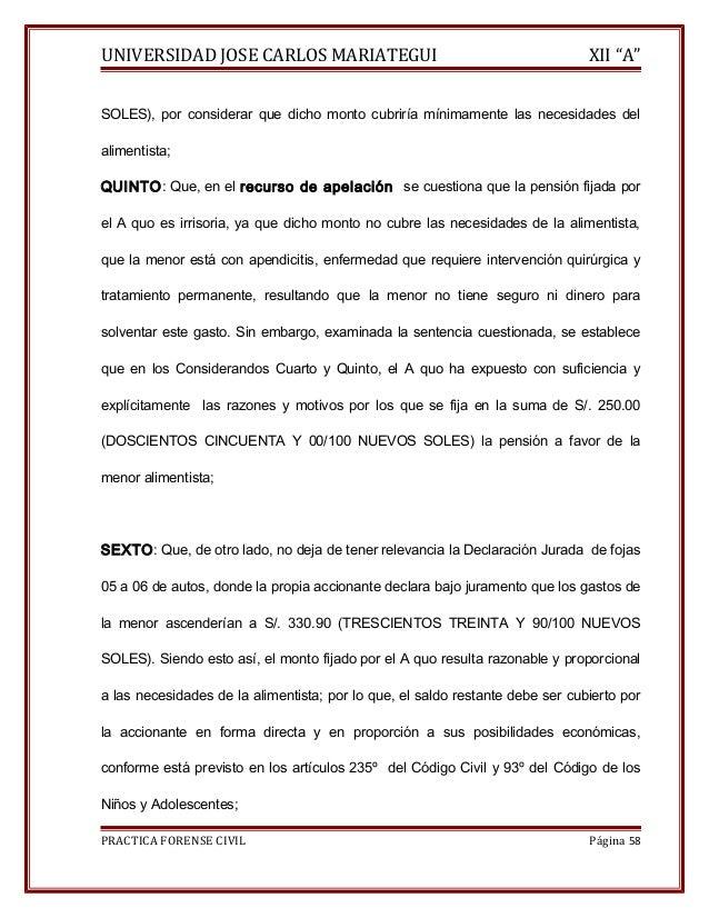 """UNIVERSIDAD JOSE CARLOS MARIATEGUI XII """"A""""  SOLES), por considerar que dicho monto cubriría mínimamente las necesidades de..."""
