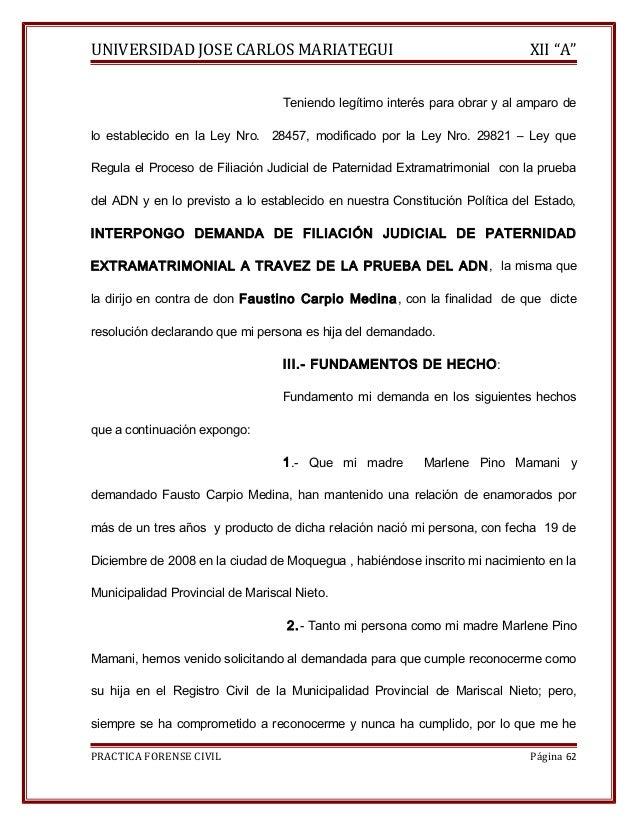 """UNIVERSIDAD JOSE CARLOS MARIATEGUI XII """"A""""  Teniendo legítimo interés para obrar y al amparo de  lo establecido en la Ley ..."""