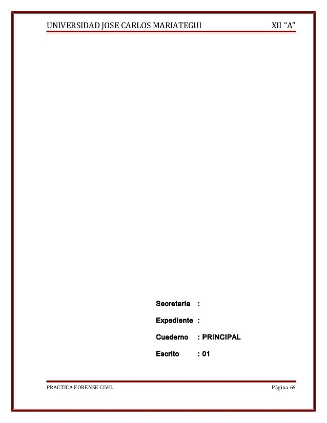 """UNIVERSIDAD JOSE CARLOS MARIATEGUI XII """"A""""  Secretaria :  Expediente :  Cuaderno : PRINCIPAL  Escrito : 01  PRACTICA FOREN..."""