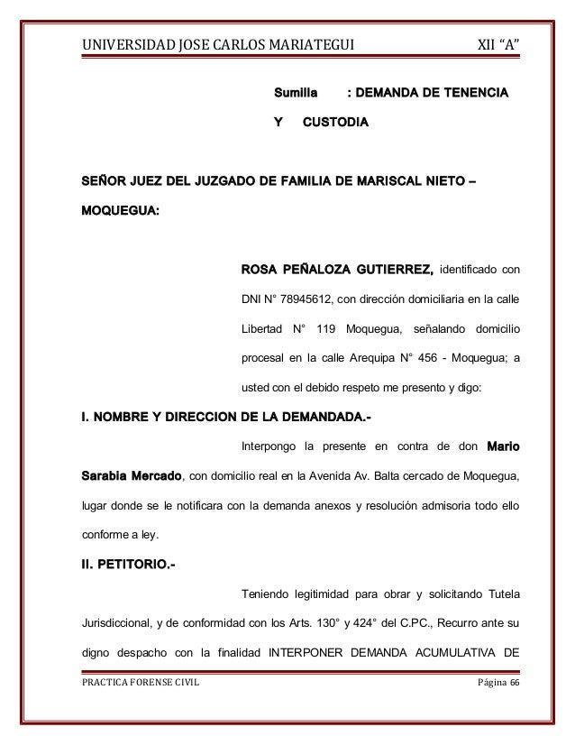 """UNIVERSIDAD JOSE CARLOS MARIATEGUI XII """"A""""  Sumilla : DEMANDA DE TENENCIA  Y CUSTODIA  SEÑOR JUEZ DEL JUZGADO DE FAMILIA D..."""
