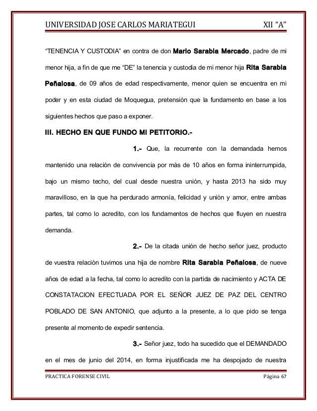 """UNIVERSIDAD JOSE CARLOS MARIATEGUI XII """"A""""  """"TENENCIA Y CUSTODIA"""" en contra de don Mario Sarabia Mercado, padre de mi  men..."""