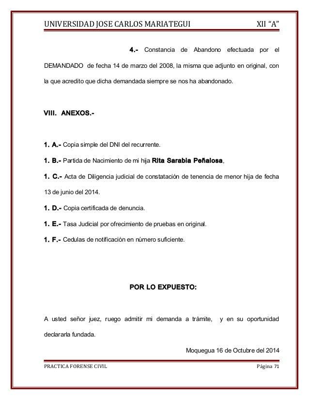 """UNIVERSIDAD JOSE CARLOS MARIATEGUI XII """"A""""  4.- Constancia de Abandono efectuada por el  DEMANDADO de fecha 14 de marzo de..."""