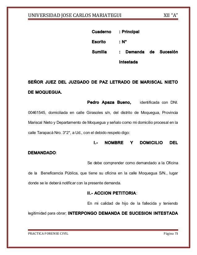 """UNIVERSIDAD JOSE CARLOS MARIATEGUI XII """"A""""  Cuaderno : Principal  Escrito : N°  Sumilla : Demanda de Sucesión  Intestada  ..."""