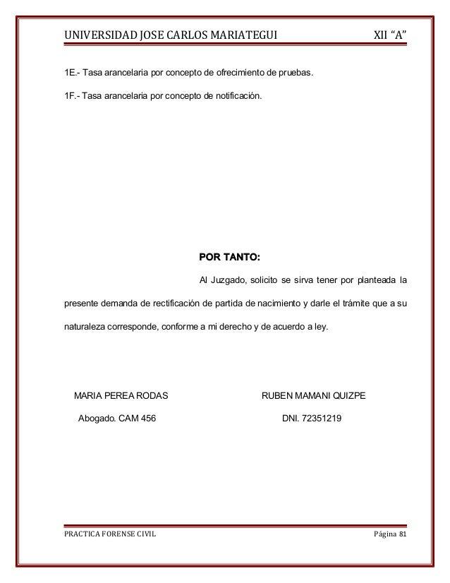"""UNIVERSIDAD JOSE CARLOS MARIATEGUI XII """"A""""  1E.- Tasa arancelaria por concepto de ofrecimiento de pruebas.  1F.- Tasa aran..."""