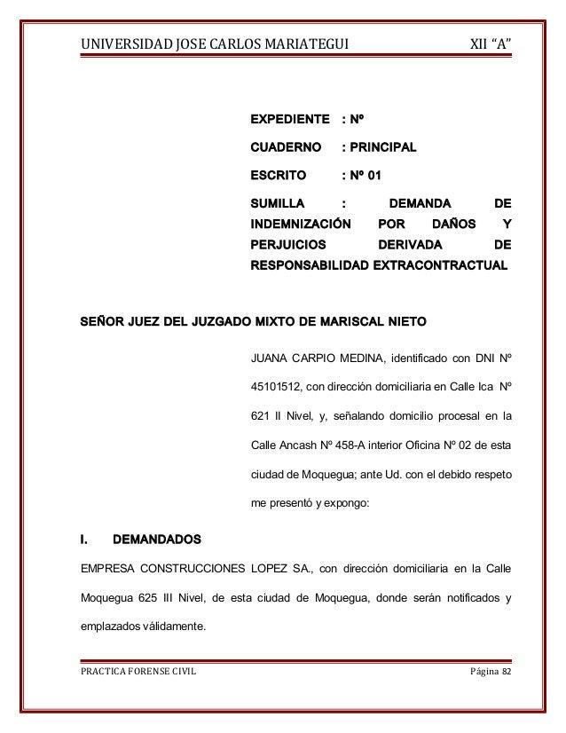 """UNIVERSIDAD JOSE CARLOS MARIATEGUI XII """"A""""  EXPEDIENTE : Nº  CUADERNO : PRINCIPAL  ESCRITO : Nº 01  SUMILLA : DEMANDA DE  ..."""