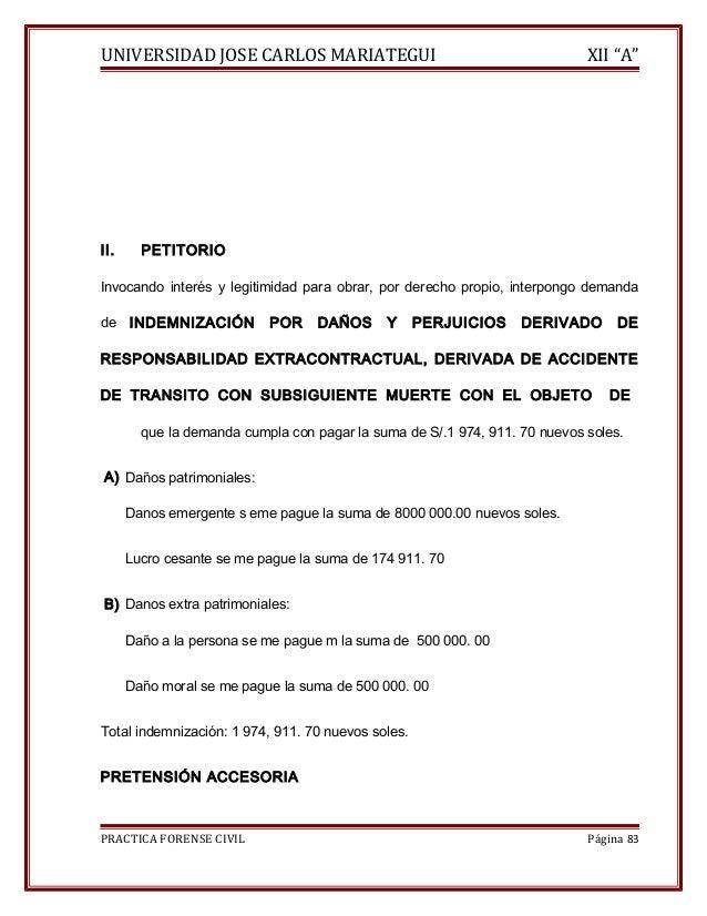 """UNIVERSIDAD JOSE CARLOS MARIATEGUI XII """"A""""  II. PETITORIO  Invocando interés y legitimidad para obrar, por derecho propio,..."""