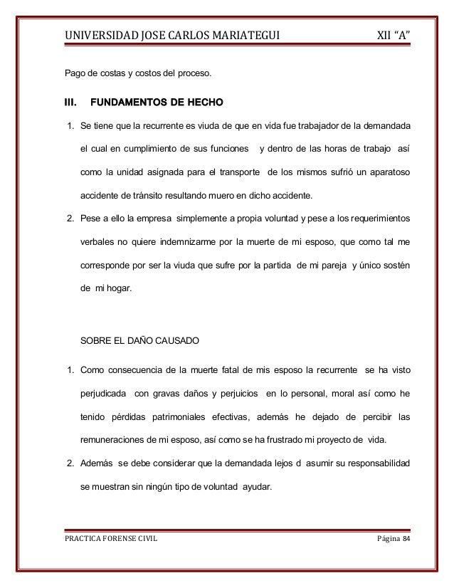 """UNIVERSIDAD JOSE CARLOS MARIATEGUI XII """"A""""  Pago de costas y costos del proceso.  III. FUNDAMENTOS DE HECHO  1. Se tiene q..."""