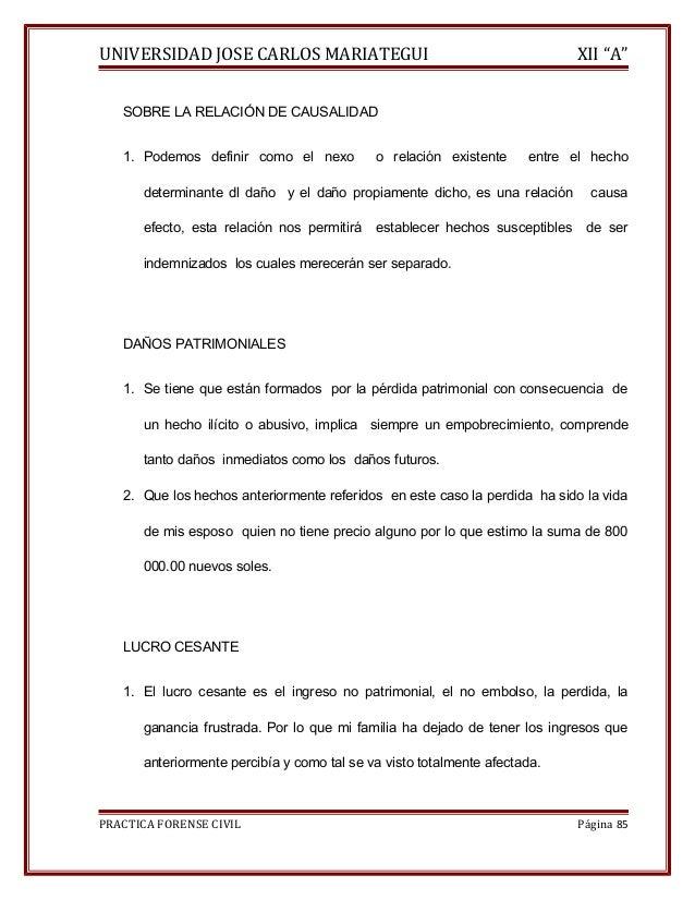 """UNIVERSIDAD JOSE CARLOS MARIATEGUI XII """"A""""  SOBRE LA RELACIÓN DE CAUSALIDAD  1. Podemos definir como el nexo o relación ex..."""