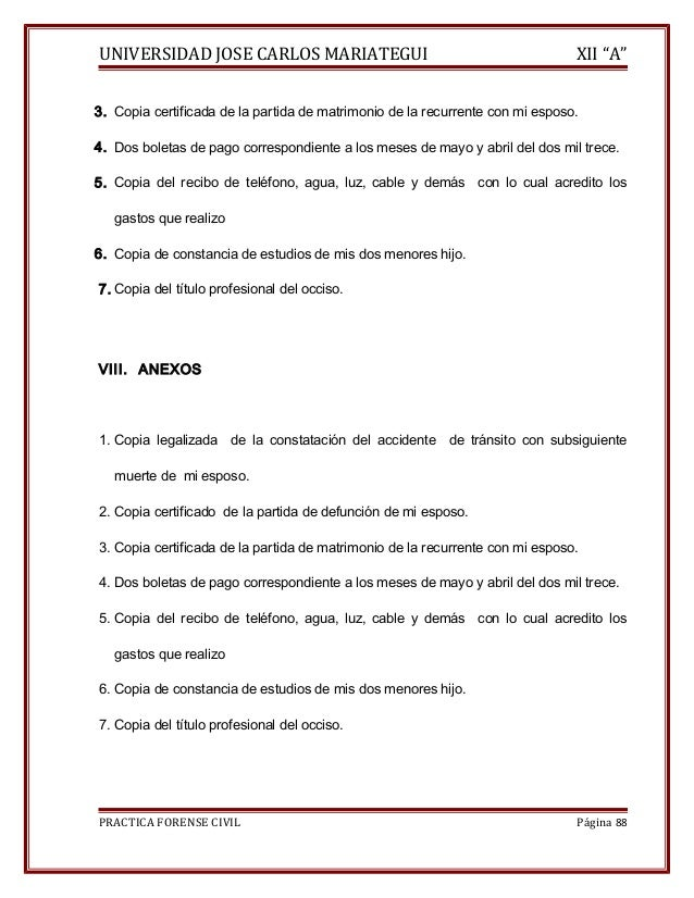"""UNIVERSIDAD JOSE CARLOS MARIATEGUI XII """"A""""  3. Copia certificada de la partida de matrimonio de la recurrente con mi espos..."""
