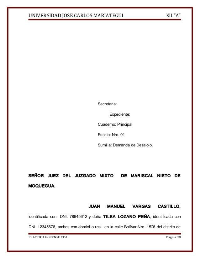 """UNIVERSIDAD JOSE CARLOS MARIATEGUI XII """"A""""  Secretaria:  Expediente:  Cuaderno: Principal  Escrito: Nro. 01  Sumilla: Dema..."""