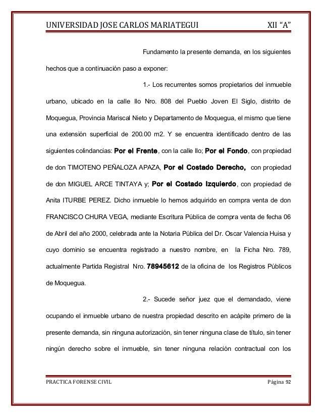 """UNIVERSIDAD JOSE CARLOS MARIATEGUI XII """"A""""  Fundamento la presente demanda, en los siguientes  hechos que a continuación p..."""
