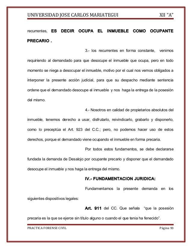 """UNIVERSIDAD JOSE CARLOS MARIATEGUI XII """"A""""  recurrentes, ES DECIR OCUPA EL INMUEBLE COMO OCUPANTE  PRECARIO .  3.- los rec..."""