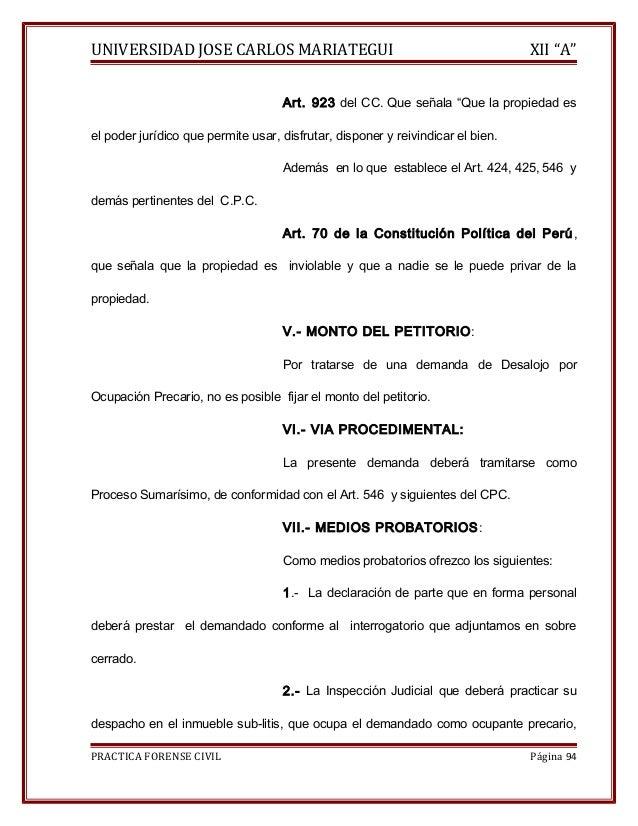 """UNIVERSIDAD JOSE CARLOS MARIATEGUI XII """"A""""  Art. 923 del CC. Que señala """"Que la propiedad es  el poder jurídico que permit..."""