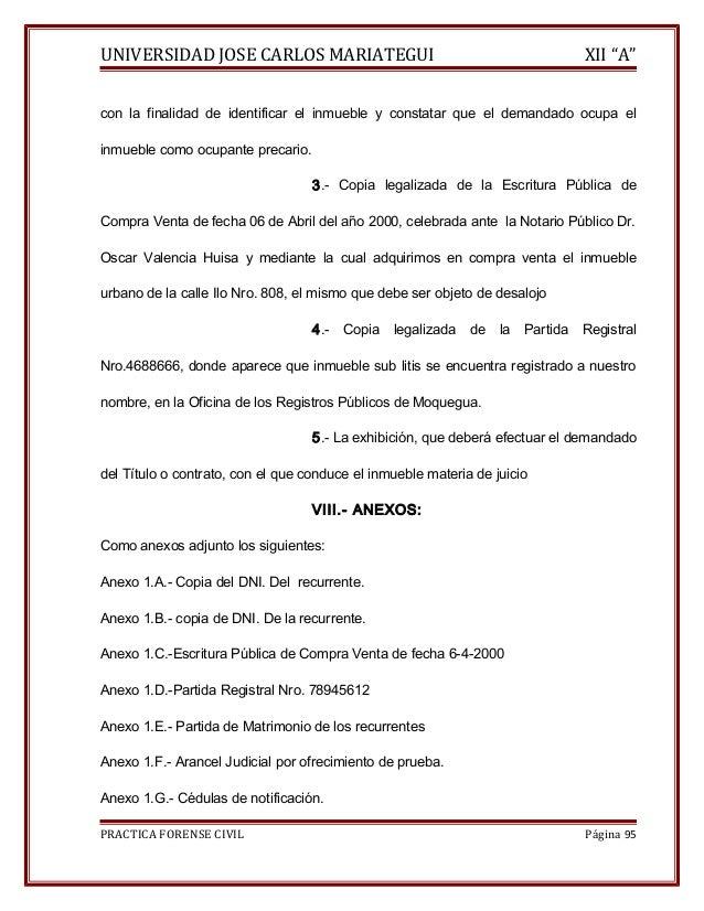 """UNIVERSIDAD JOSE CARLOS MARIATEGUI XII """"A""""  con la finalidad de identificar el inmueble y constatar que el demandado ocupa..."""