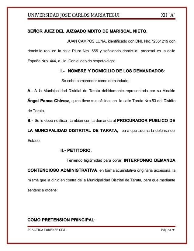 """UNIVERSIDAD JOSE CARLOS MARIATEGUI XII """"A""""  SEÑOR JUEZ DEL JUZGADO MIXTO DE MARISCAL NIETO.  JUAN CAMPOS LUNA, identificad..."""