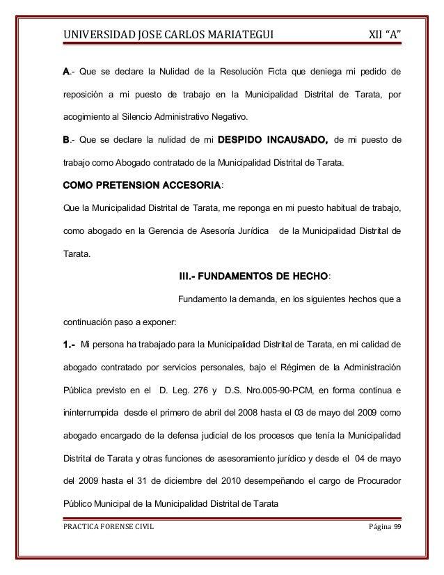 """UNIVERSIDAD JOSE CARLOS MARIATEGUI XII """"A""""  A.- Que se declare la Nulidad de la Resolución Ficta que deniega mi pedido de ..."""