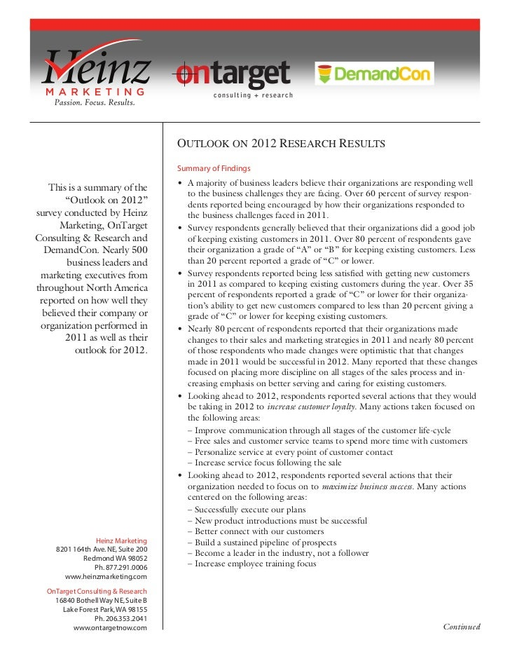 ontarget consulting + research                                     Summary of Findings                                    ...