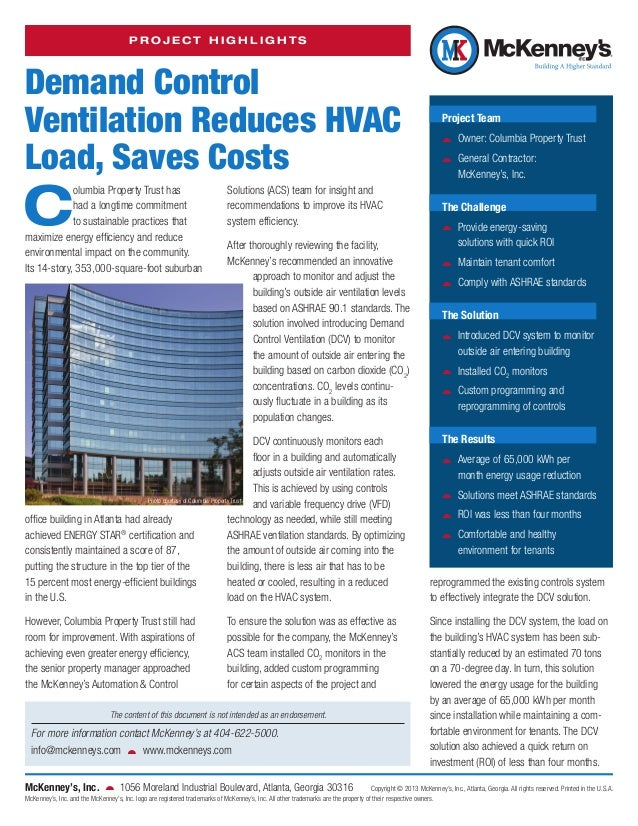 PROJECT HIGHLIGHTS  Demand Control Ventilation Reduces HVAC Load, Saves Costs  C  olumbia Property Trust has had a longtim...