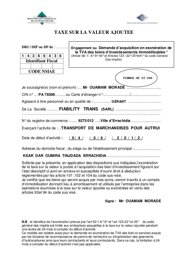 demande d attestation fiscale maroc