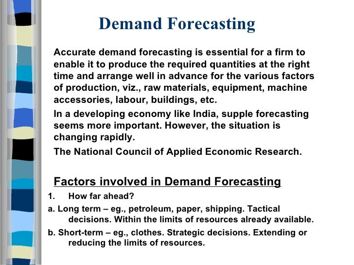 thesis on demand forecasting This thesis contributes to this literature by investigating three topical issues related to financial and economic forecasting  essays in financial forecasting.
