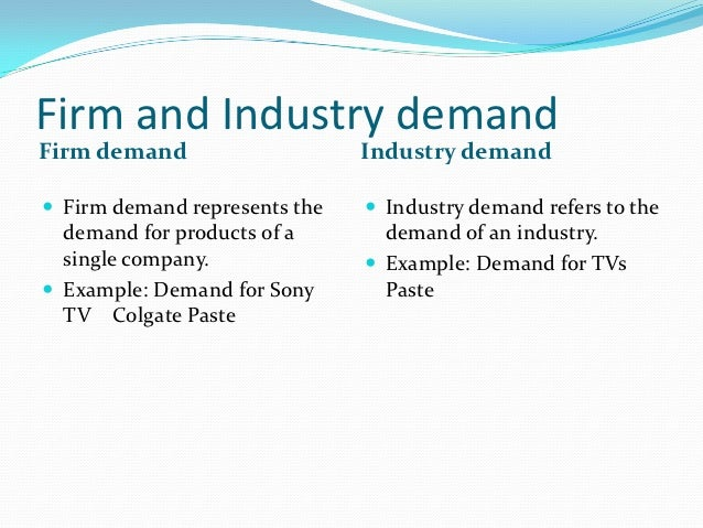 Firm and Industry demandFirm demand                    Industry demand Firm demand represents the    Industry demand ref...