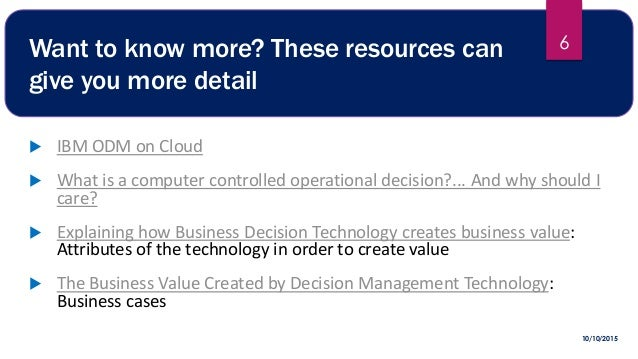 Technology Management Decisions: Demand For Operational Decision Management (odm