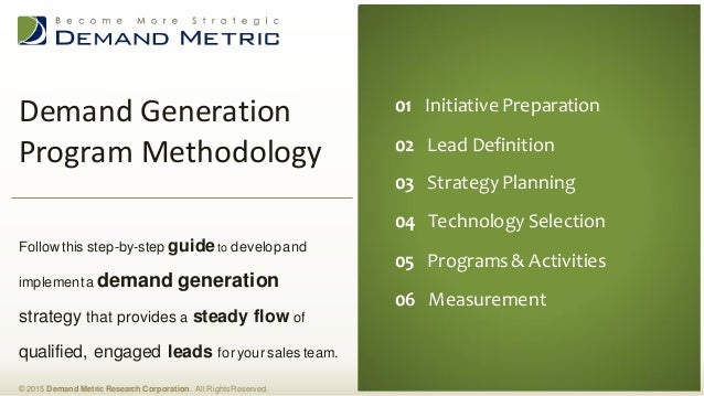 Demand Generation Program Methodology © 2015 Demand Metric Research Corporation. All RightsReserved. Follow this step-by-s...