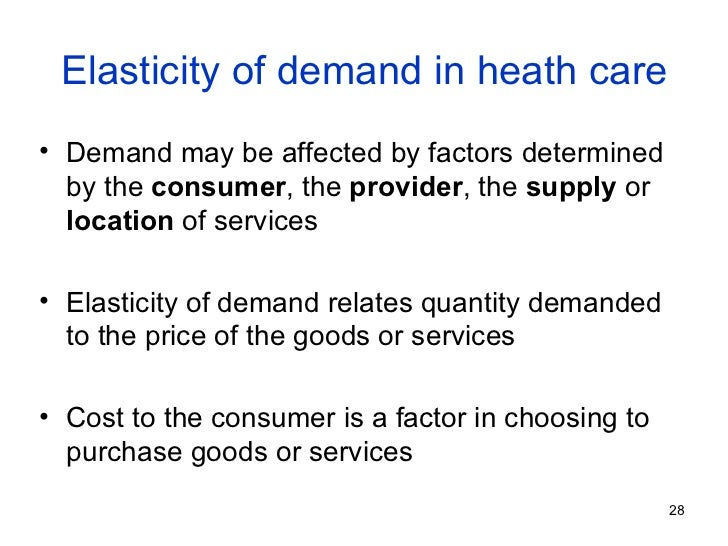 elasticity of demand health care essay Price elasticity of demand this will mean that health resources must be rationed through the demand for healthcare is at its greatest when it is free.