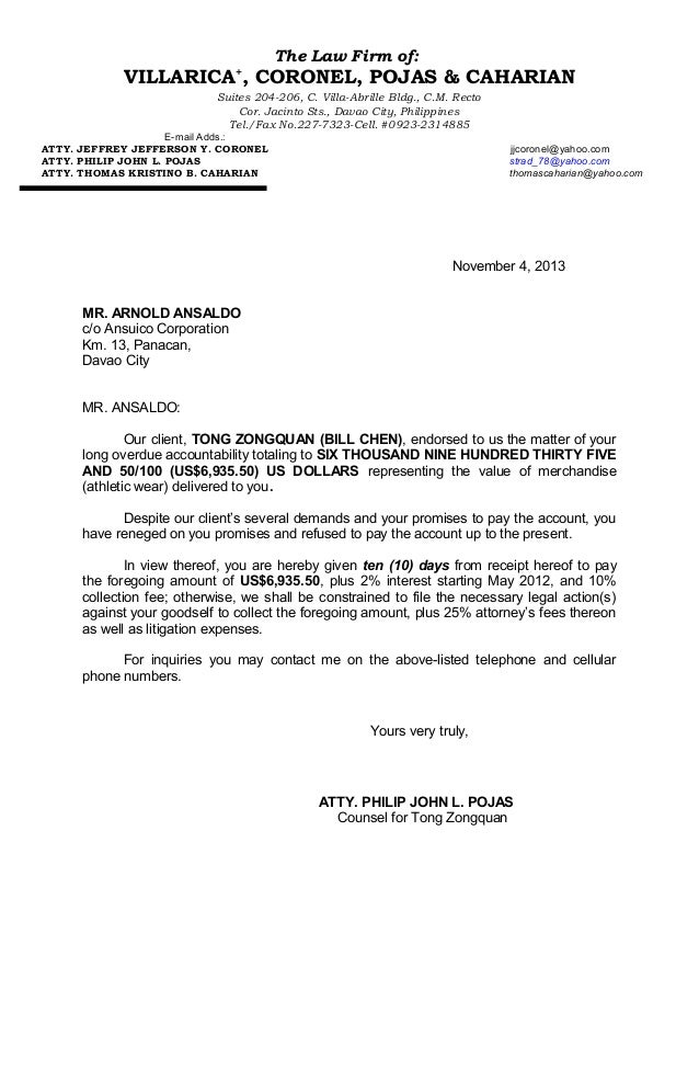 arnold ansaldo demand letter the law firm of villarica coronel pojas caharian suites 204 206