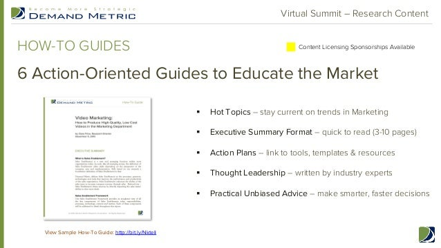 Demand Metric Q1 Research Agenda & Virtual Summit Sales Enablement