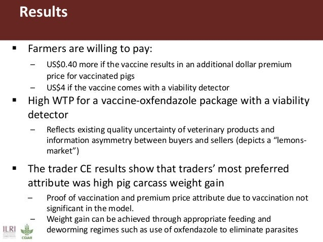 Results: Farmers WTP for combined attributes of the vaccine using compensating surplus model Attribute WTP in Uganda Shill...