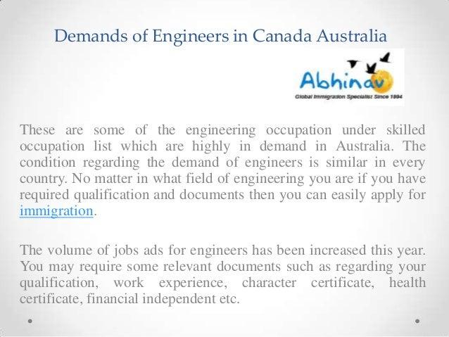 Demands of engineers in canada australia