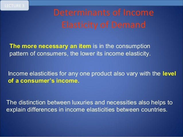 explain determinants of demand These three determinants are listed here: nature of commodity -the more perishable a good,lower will its elasticity of demand,middle income groups have highly elastic demand ,goods having alternative uses have elastic demand,for egmilk.
