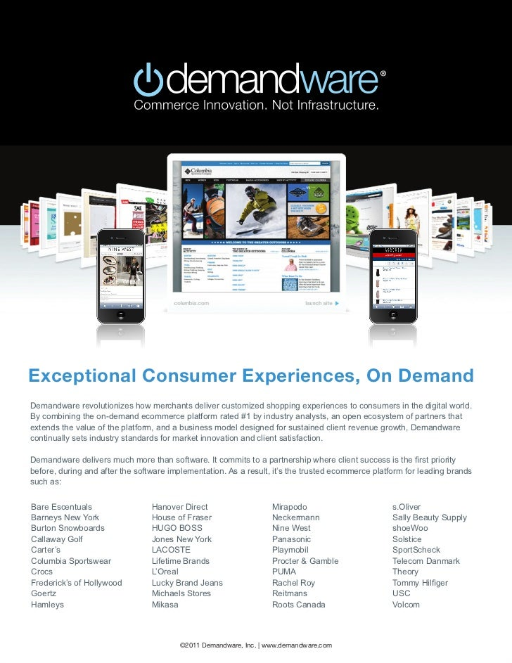 Exceptional Consumer Experiences, On DemandDemandware revolutionizes how merchants deliver customized shopping experiences...