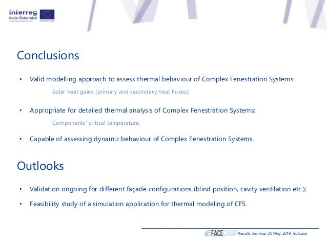 Conclusions Results Seminar 20 May 2019, Bolzano • Valid modelling approach to assess thermal behaviour of Complex Fenestr...