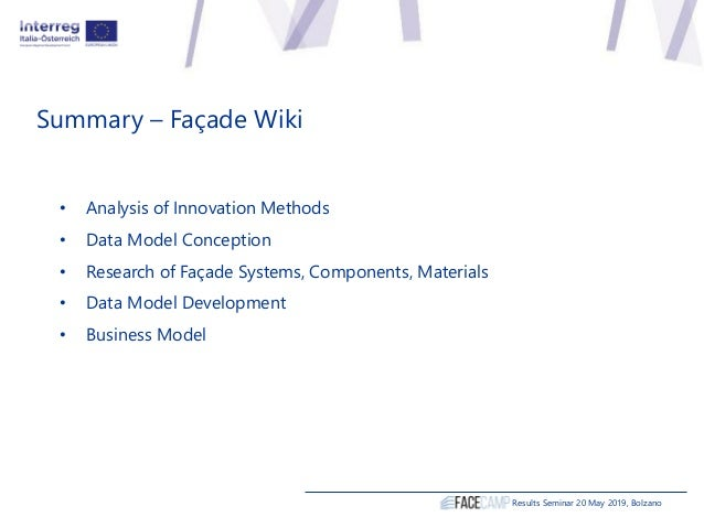 Summary – Façade Wiki • Analysis of Innovation Methods • Data Model Conception • Research of Façade Systems, Components, M...