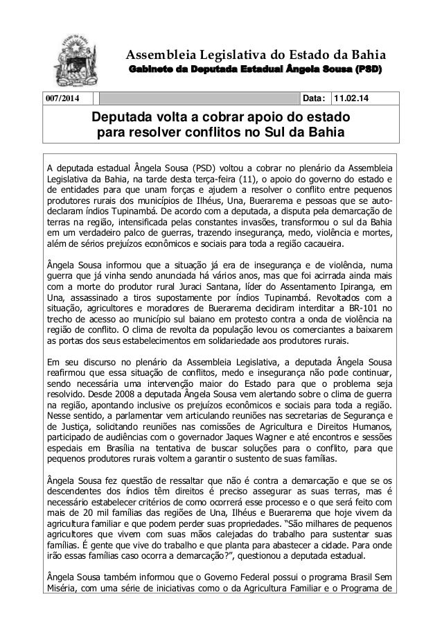 Assembleia Legislativa do Estado da Bahia Gabinete da Deputada Estadual Ângela Sousa (PSD) 007/2014  Data:  11.02.14  Depu...