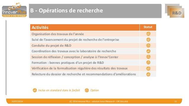 R&D  B -Opérations de recherche  Activités  Statut  Organisation des travauxde l'année  Suivi de l'avancement du projet de...
