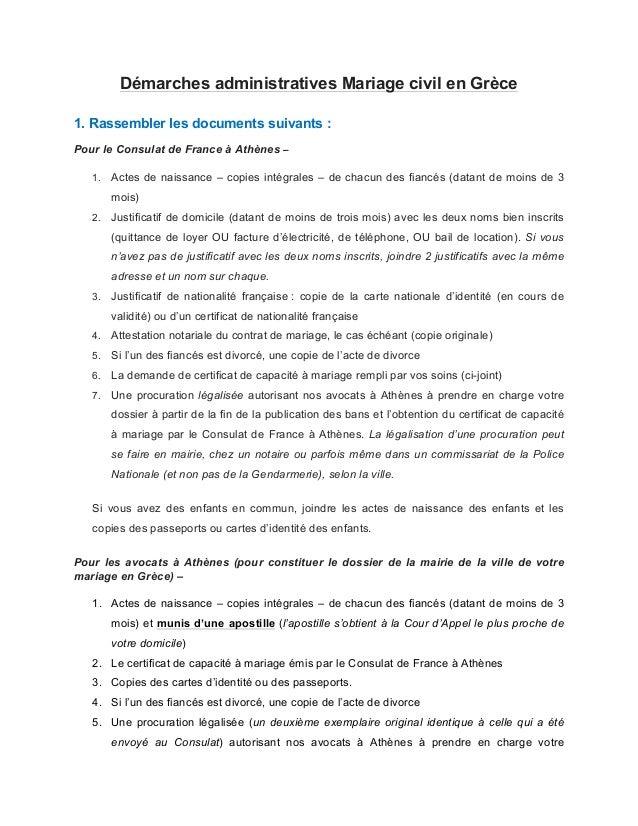 dmarches administratives mariage civil en grce 1 rassembler les documents suivants pour le consulat - Mariage Francais Etranger Documents