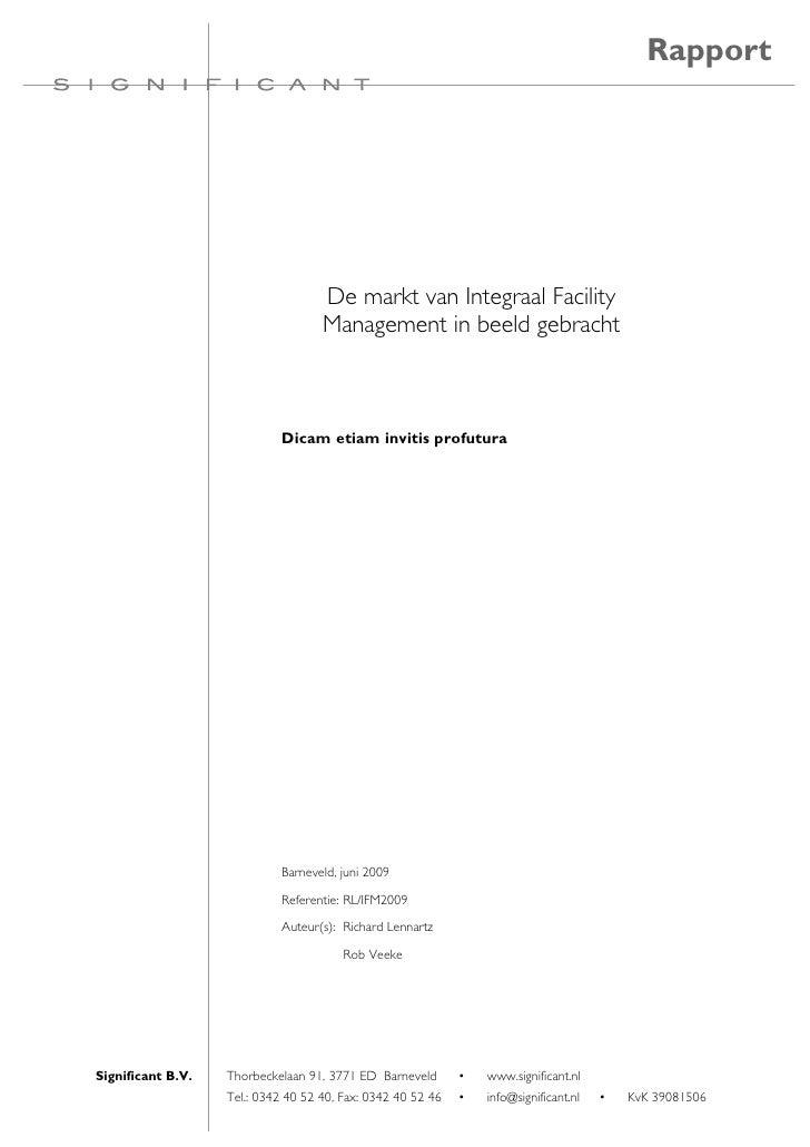 Rapport                                         De markt van Integraal Facility                                     Manage...