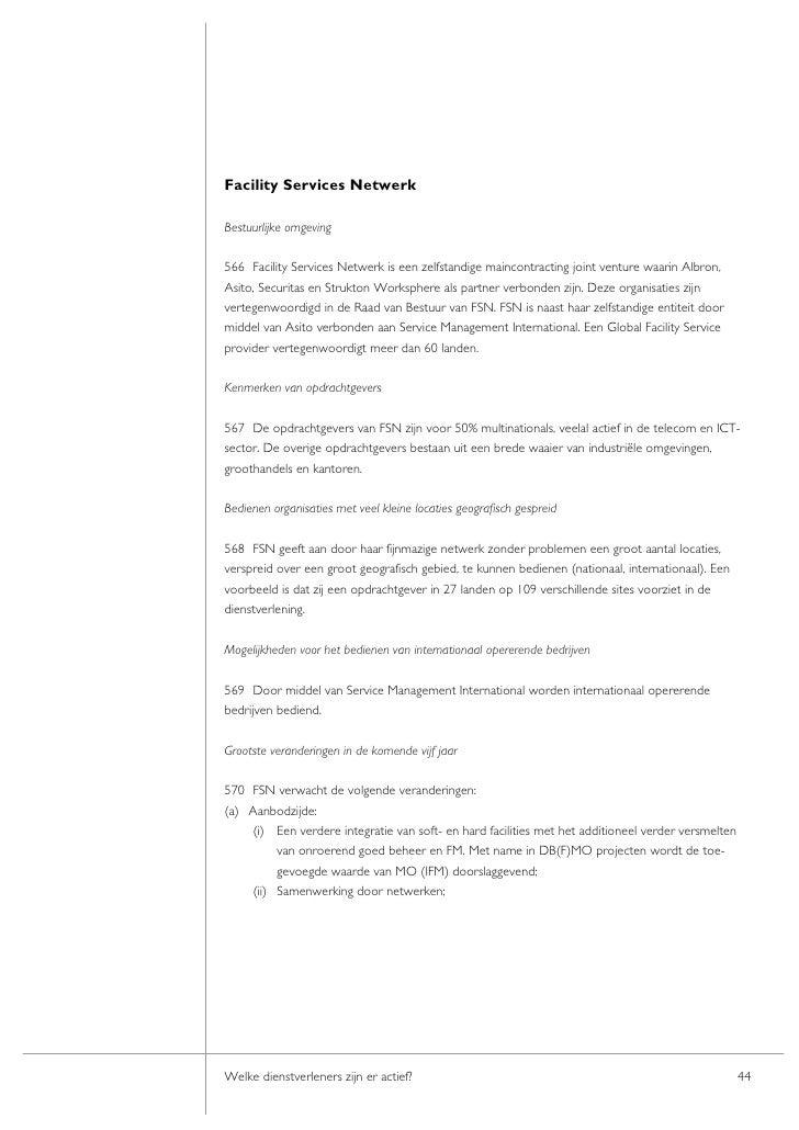 Facility Services Netwerk  Bestuurlijke omgeving  566 Facility Services Netwerk is een zelfstandige maincontracting joint ...