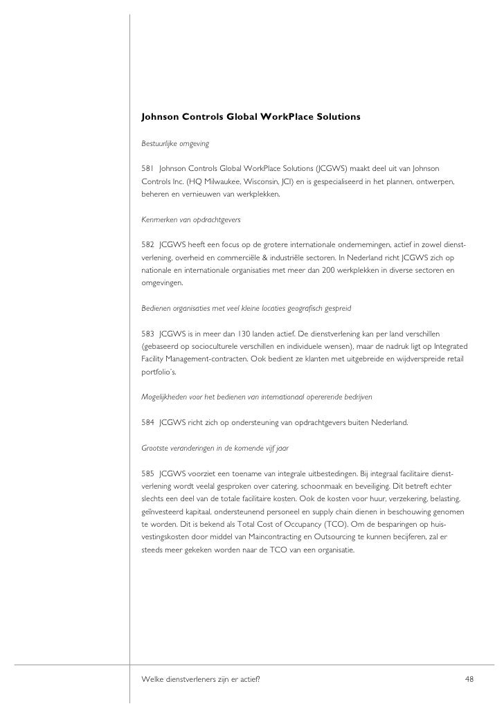 Johnson Controls Global WorkPlace Solutions  Bestuurlijke omgeving  581 Johnson Controls Global WorkPlace Solutions (JCGWS...