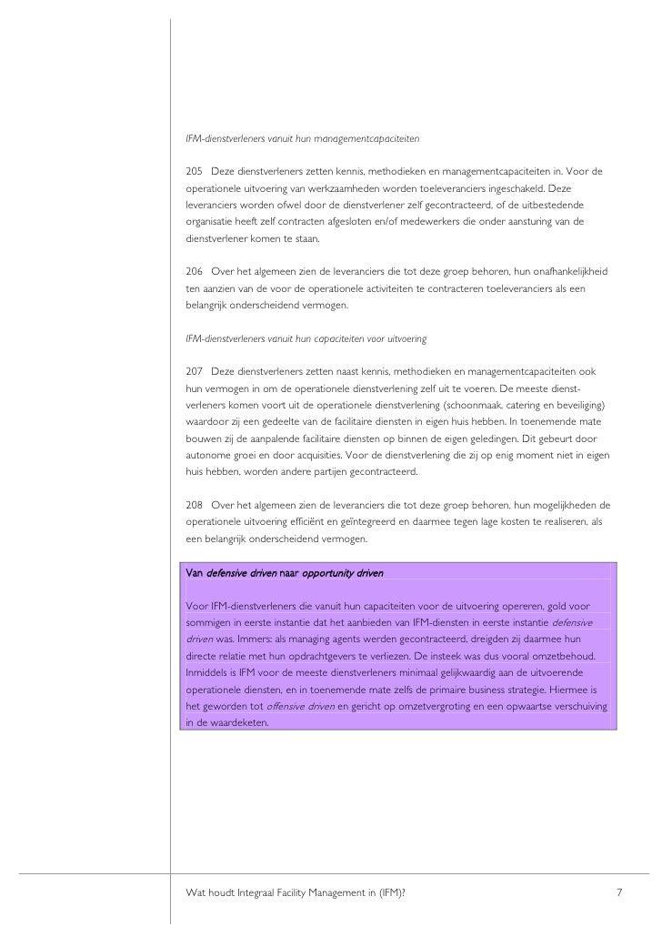 IFM-dienstverleners vanuit hun managementcapaciteiten  205 Deze dienstverleners zetten kennis, methodieken en managementca...
