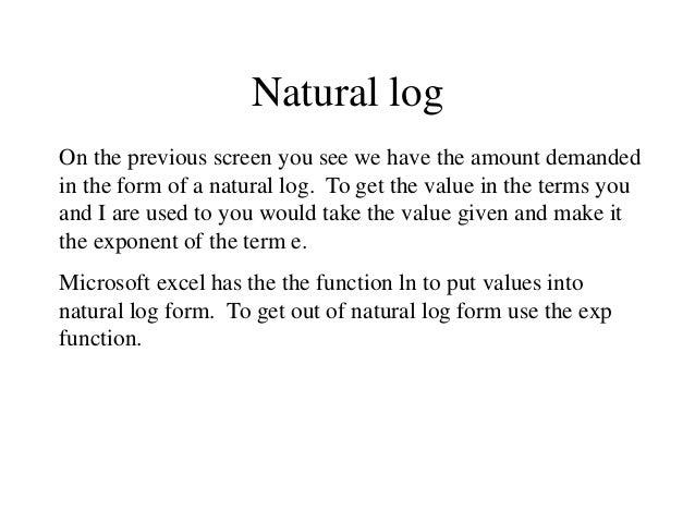 Use Natural Log Demand Function