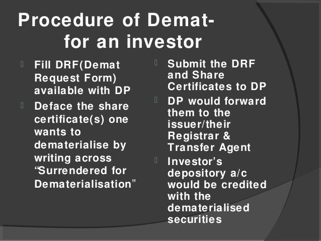 Dematerialization of shares.