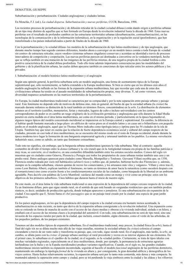 DEMATTEIS, Giuseppe. Suburbanización y Periurbanización