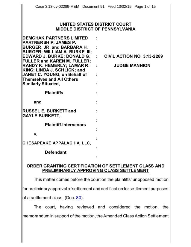 Court Order Granting Certification Of Demchak Royalty Class Action La